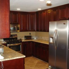 Red Cherry Cabinets Kitchen Cabinet Door Styles Magnificent White Marble Countertops In U Shaped