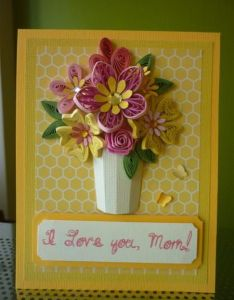 Handmade yellow paper quilling card  love you mom with quilled flowers and also greeting am so proud of by rh pinterest