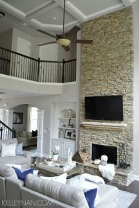 Fall Home Tour   Stacked stone fireplaces, Rock fireplaces ...