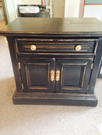 Black and gold distressed nightstand #chalkpaint # ...