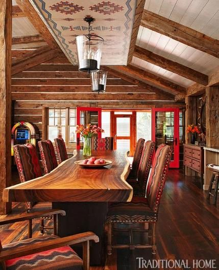 Live edge table, Pendleton fabric chairs, love this dining