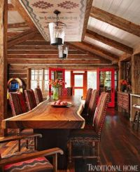 Live edge table, Pendleton fabric chairs, love this dining ...