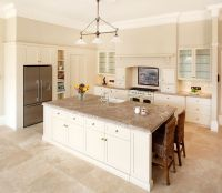 Travertine Floor White Cabinets: Travertine Countertops