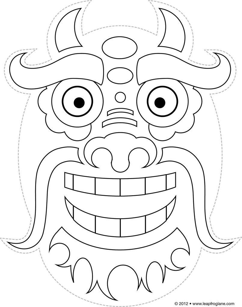 Chinese Dragon Mask Drawing Printable chinese dragon masks