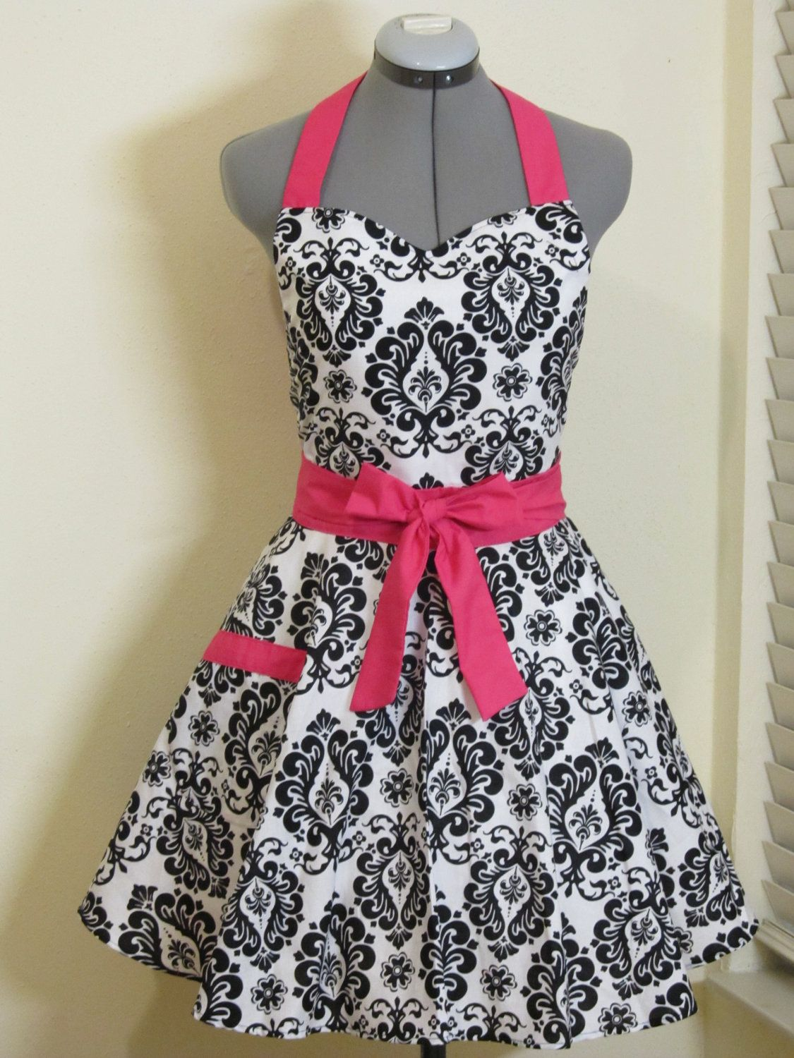 cute kitchen aprons cart with stools sweetheart hostess apron black damask hot pink full