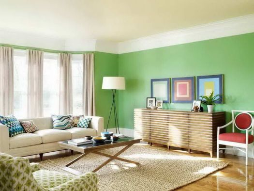 Tropical House Living Room With Artistic Green Color Idea