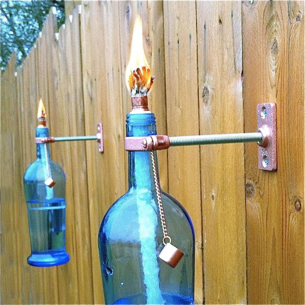 Wine Bottle Tiki Torch. Love Blue Glass Outdoor Garden