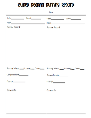 Blank running record template for quick checks during