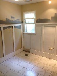 Wainscoting during Bathroom renovation. | Home Renovation ...