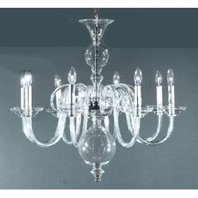 Eight Light Clear Bohemian Art Glass Chandelier