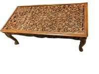 Antique coffee table floral hand carved rectangle table ...