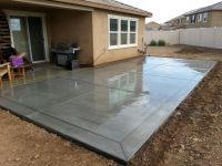 "Broom finish concrete patio slab with 12"" border bands ..."