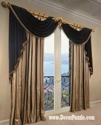 french curtains ideas, modern luxury curtains black scarf