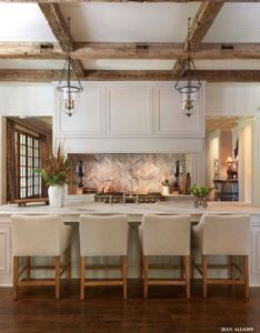 Inviting kitchen designs with exposed wooden beams also awesome farmhouse decor ideas rh pinterest