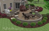 Large Paver Patio Design with Grill Station + Bar. | Plan ...