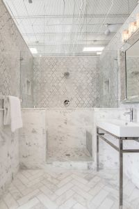 White bathroom tile - Tempesta Neve Polished Marble Subway ...