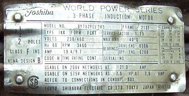 Franklin Electric Motors Wiring Diagrams Toshiba Three Phase Induction Motor Nameplate Energy And