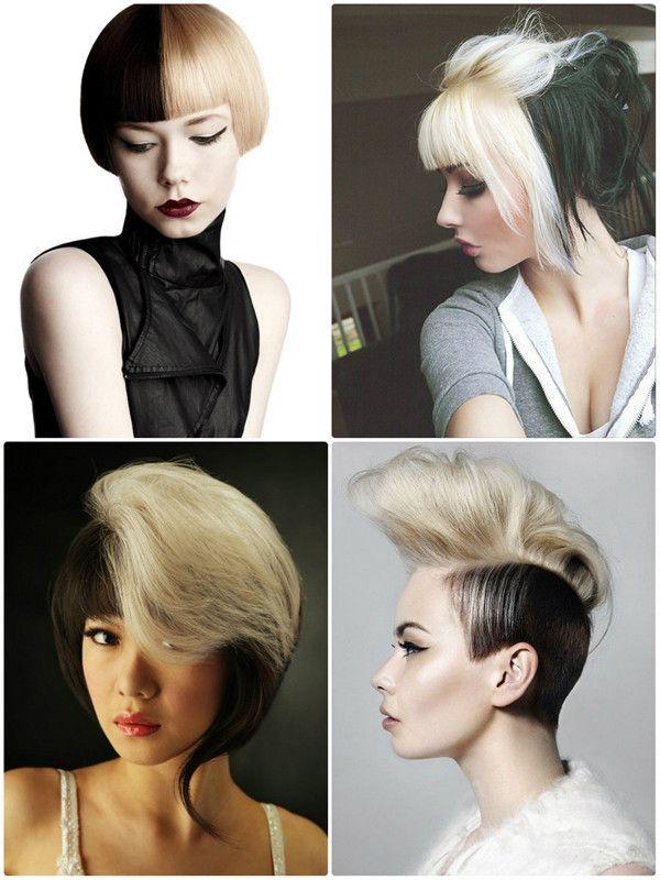 Two Tone Hair In Schwarz Und Weißblond Fashion Frisuren Short