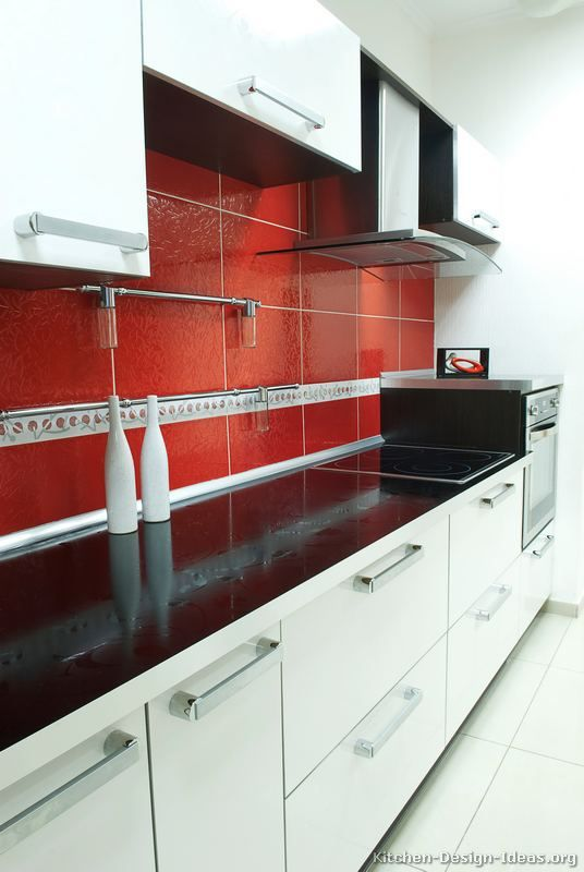 Red And White Kitchen Wall Tiles