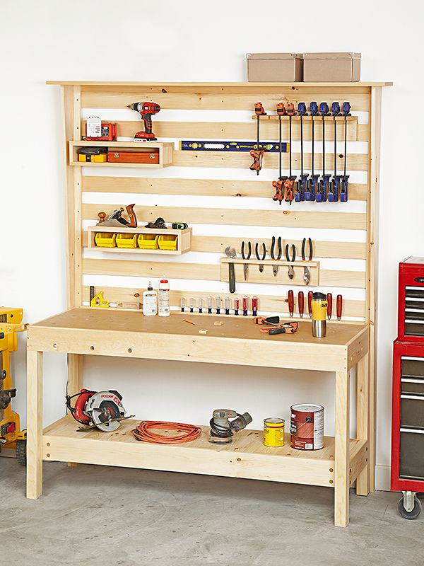 Workbench with Wall Storage Woodworking Plan. Two easy-to-build ...