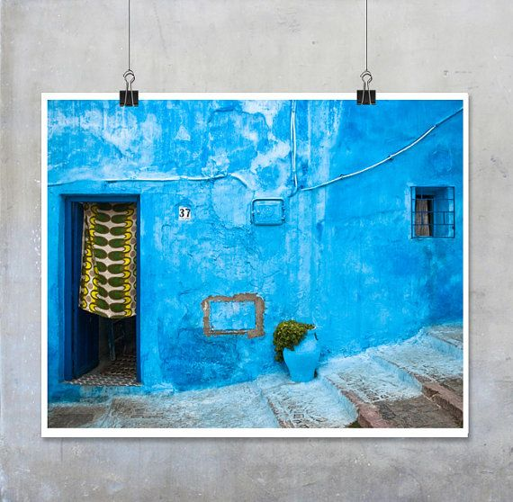 Travel photography blue house door with green yellow curtain morocco chefchaouen photograph wall art home decor also rh pinterest