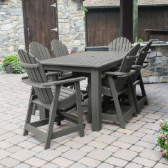 Adirondack Style Dining Chairs Outsunny Fishing Chair Beautiful Patio Set With Oversized 72 X 42 Counter Height Table And 6