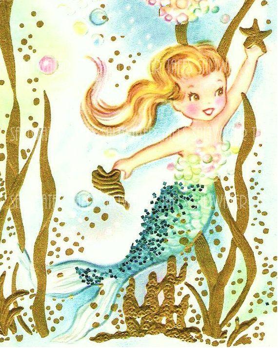 Cute Dimple Baby Wallpaper Vintage Mermaid Holding Starfish Cute Digital Downloads