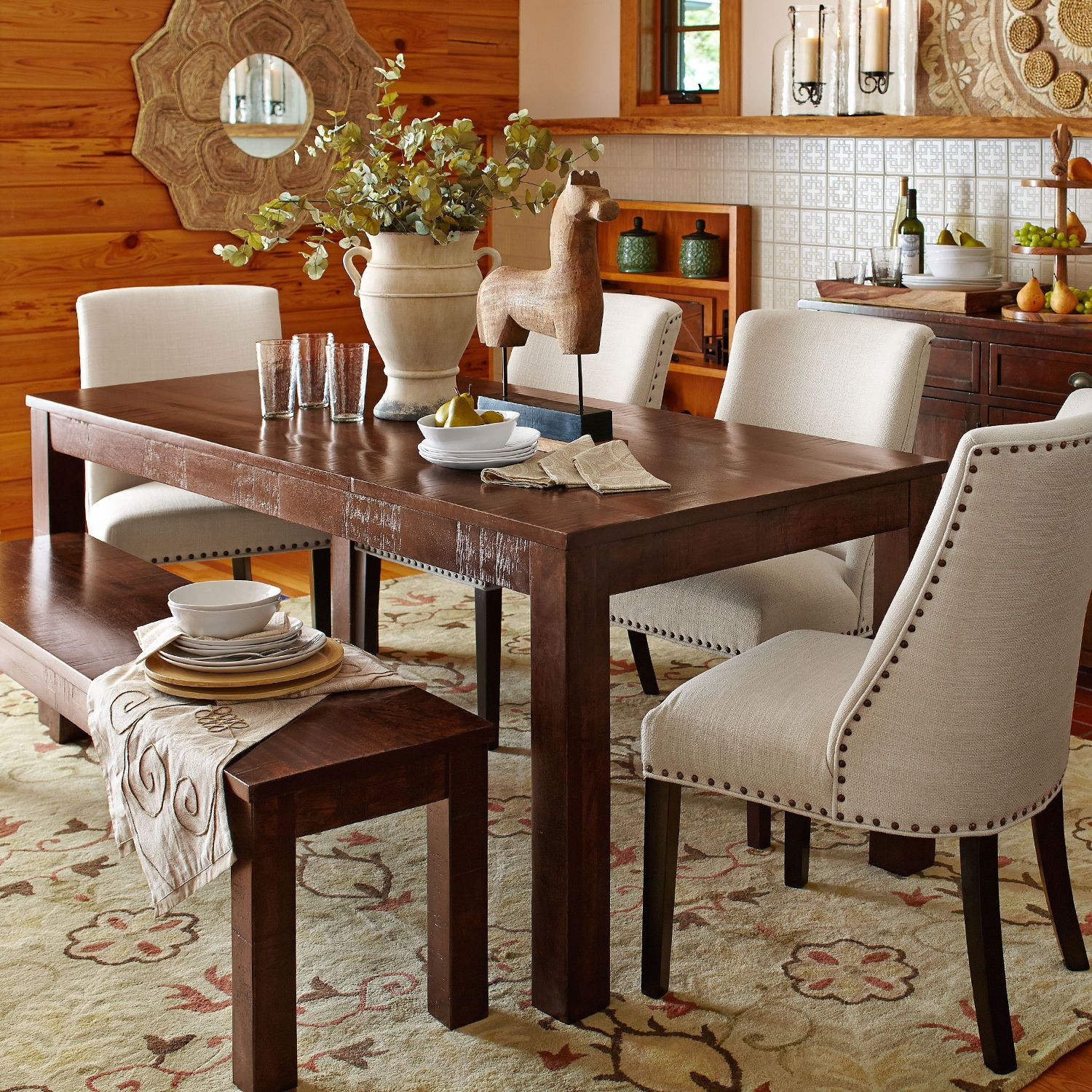 Parsons 76 Tobacco Brown Dining Table  Wood table Brown