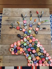 Hubby and I made this. beer cap deer. Bottle cap crafts ...