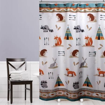Mainstays Kids Woodland Creatures Fabric Shower Curtain Woodland
