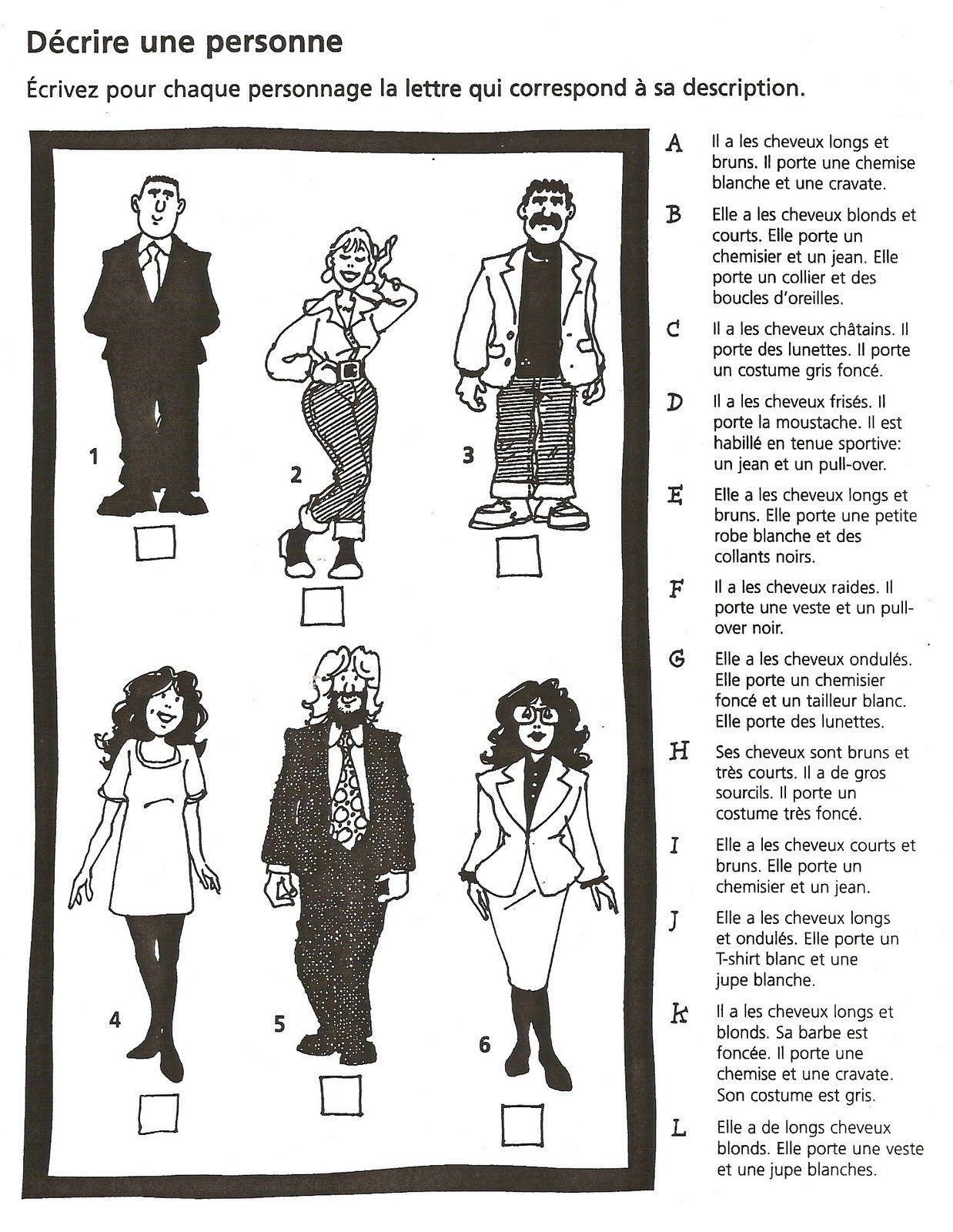 Trouvez La Bonne Description Anks For The Worksheet