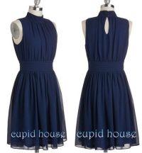 Short Navy Blue Bridesmaid Dress, Halter Sleeveless ...