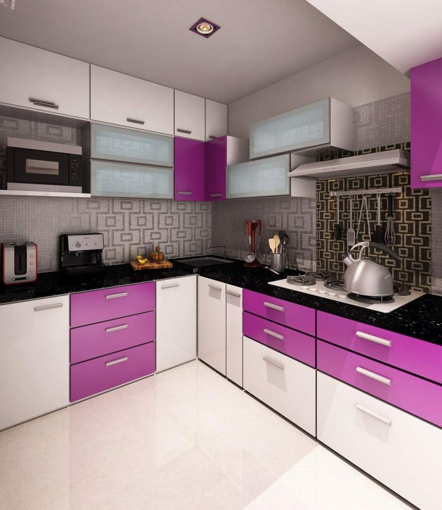 L Shaped White Kitchen Designs