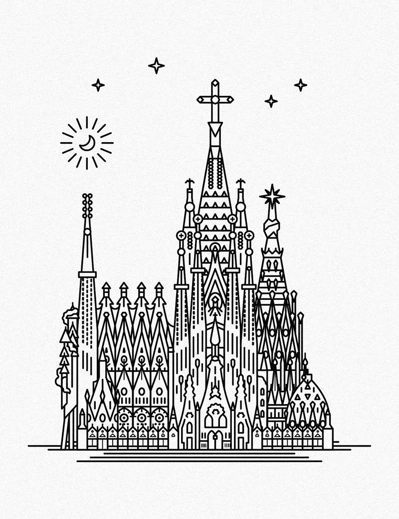 EXPO Barcino  Sagrada Familia 20  Illustration  Pinterest  Sagrada familia and Travel illustration