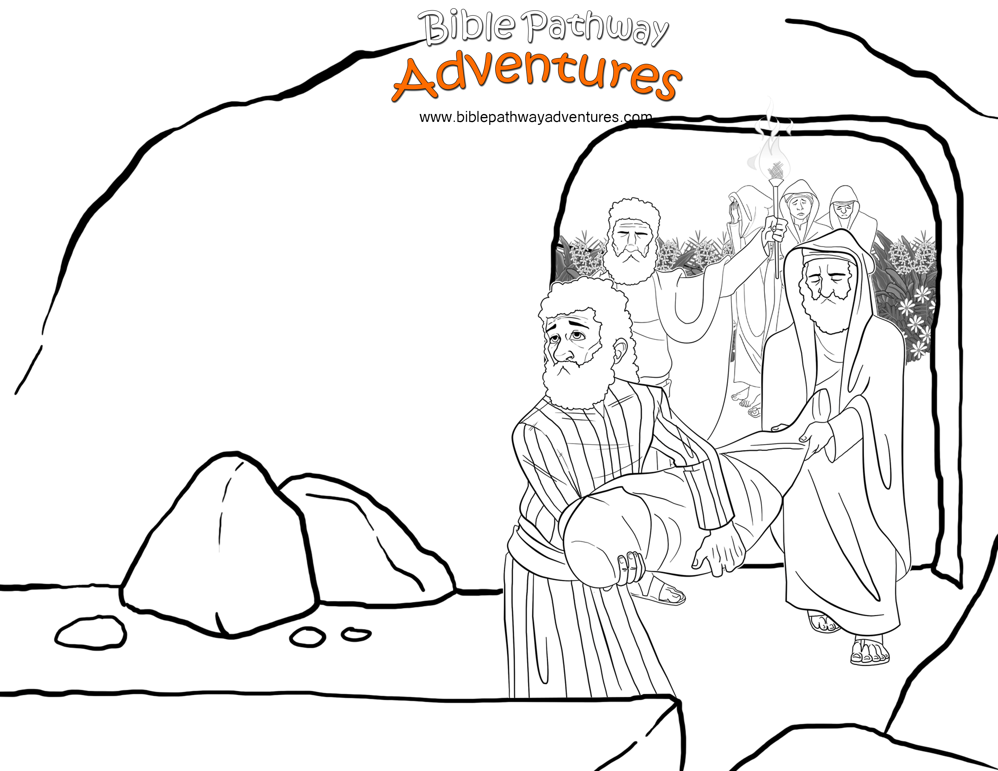 Nicodemus And His Friend Joseph Place Yeshua Jesus Into The Tomb A Coloring Page For Kids