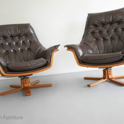 Modern Leather Recliner Swivel Chair How To Install Rail Mid Century Armchairs X2 Danish Deluxe
