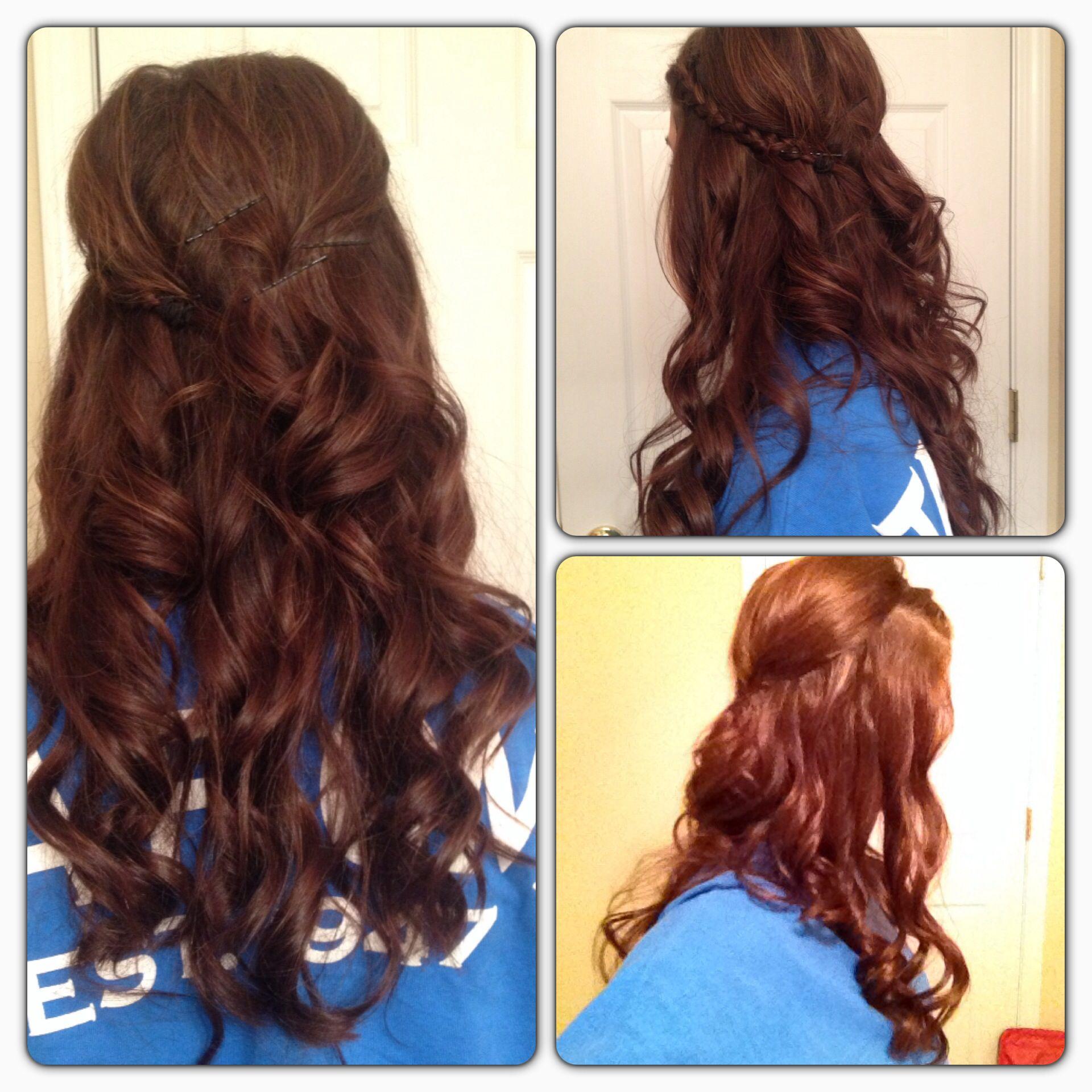 French braid and curls Braided hair ❤❤❤ Pinterest