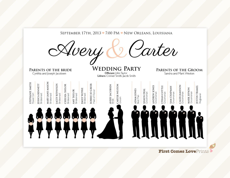 Wedding Party Silhouette Template Printable Wedding