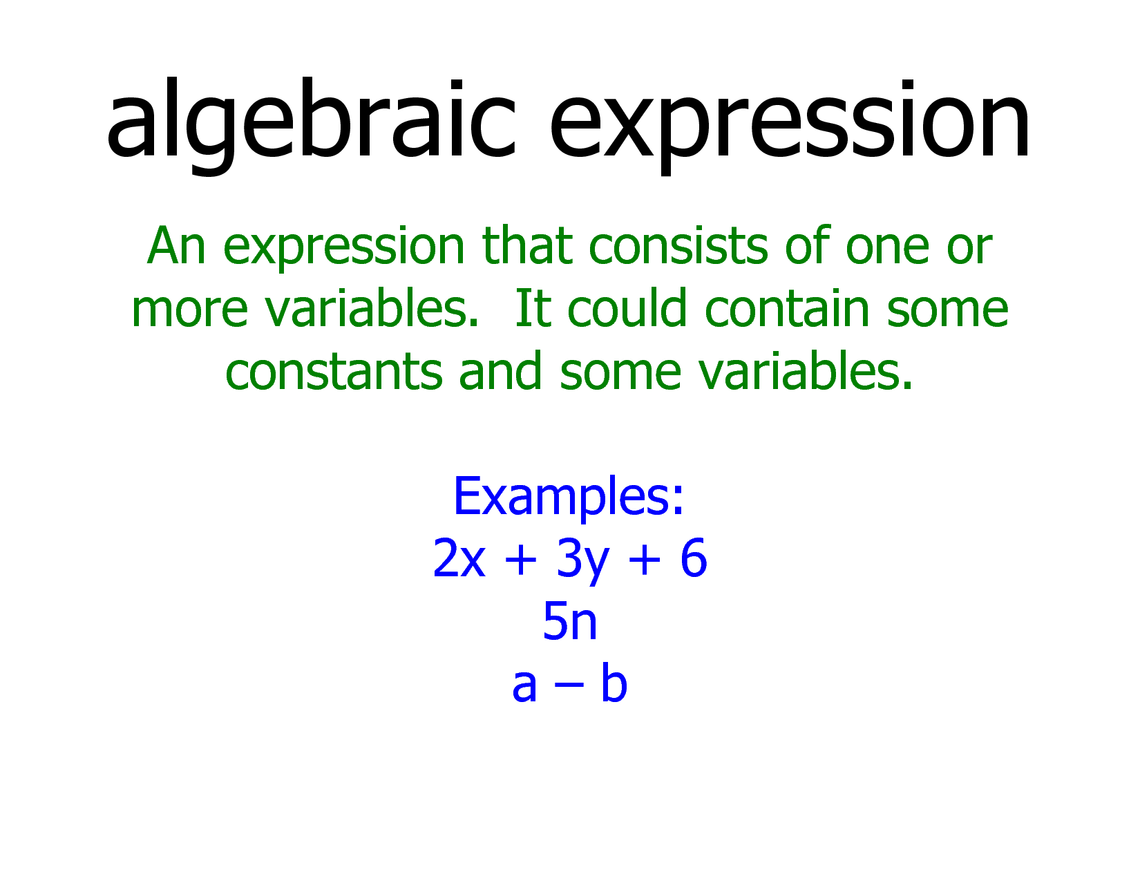 Algebraic Expressions Introduction