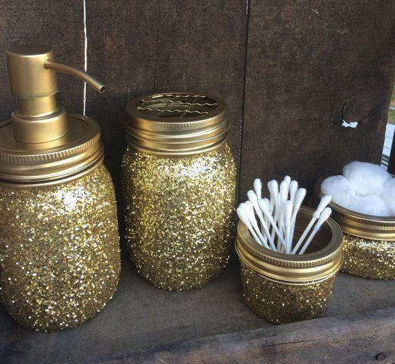 Gold glitter mason jar bathroom setSoap dispenser by