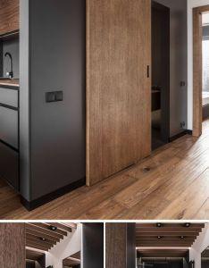 Wood door defines this modern bathroom while hidden lighting has been used in the floor creating  soft glow and up mostly dark room also inbox  shanischwefel gmail decoracion pinterest rh