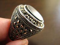 ISLAMIC ARABIC STERLING SILVER mens Hadid aqeeq Ring ...