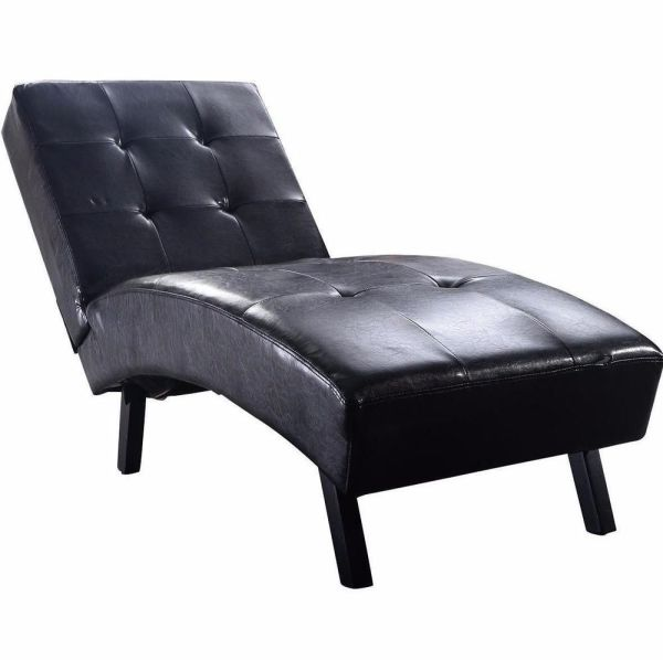 Chaise Lounge Leather Chair Armless Black Sofa Loveseat
