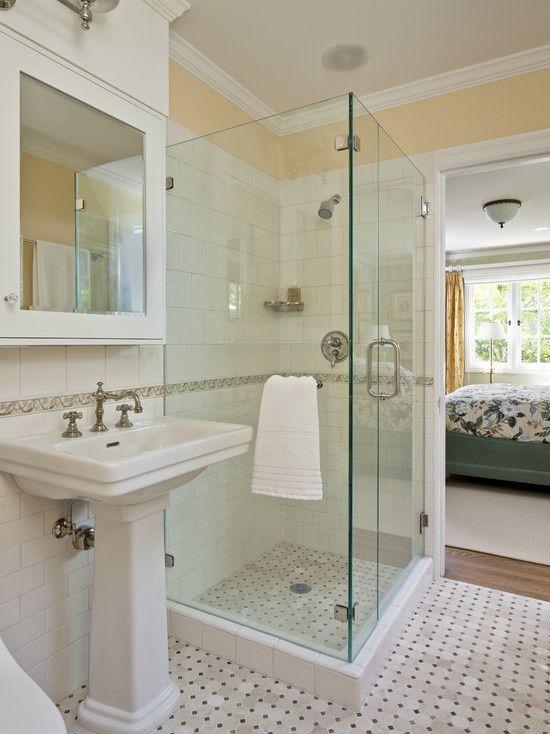 craftsman small 8 x 7 bathroom design | visit houzz com | bathroom