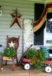 Little Red White And Blue Front Porch