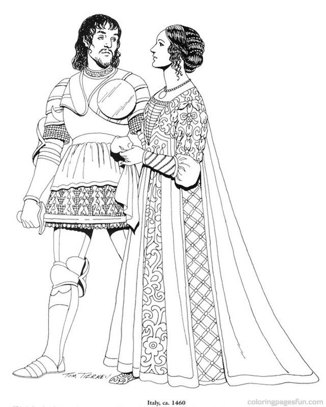 Renaissance Costumes and Clothing Coloring Pages 12