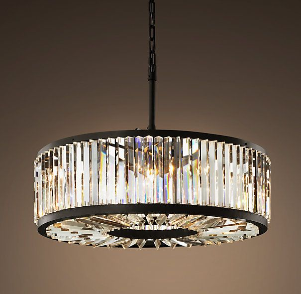 Restoration Hardware Welles Crystal Chandelier Medium 2995 The Geometric Design Of Our Lighting Collection Echoes