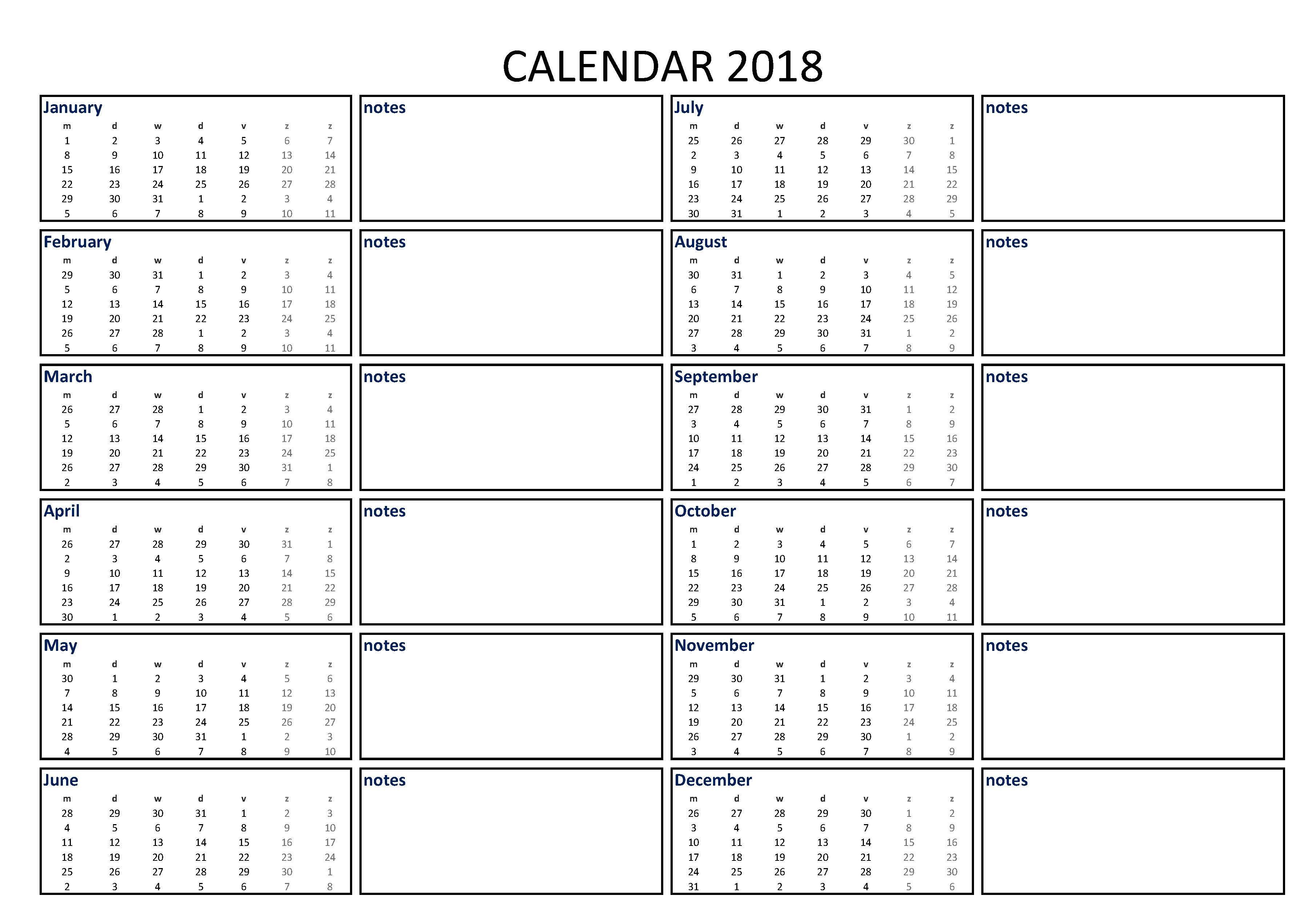 Calendar Excel A3 With Notes
