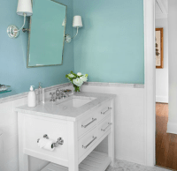 Beachy blue bathroom with blue walls paint color
