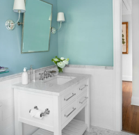 Beachy blue bathroom with blue walls paint color | Build ...